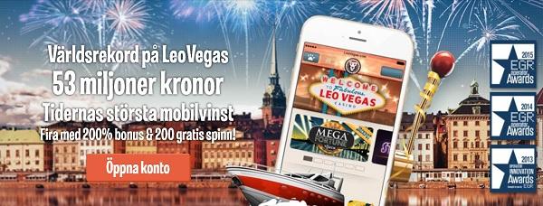 LeoVegas mobilcasino med 10 000 kr i bonus