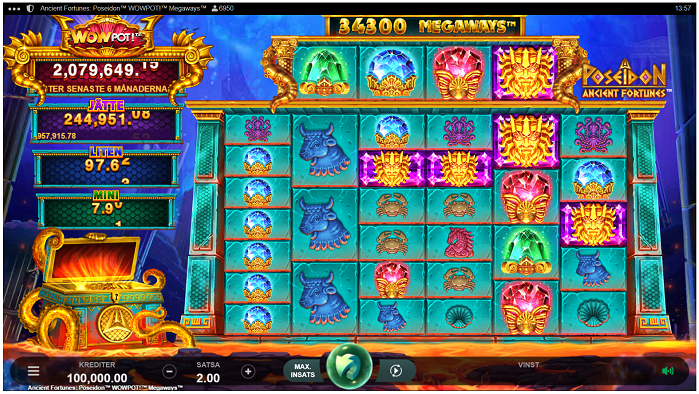 Ancient Fortunes Poseidon Wowpot Megaways - Nytt jackpottspel